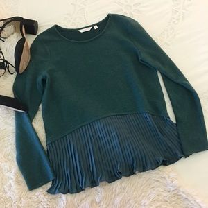 lauren conrad • pleated peplum turquoise sweater